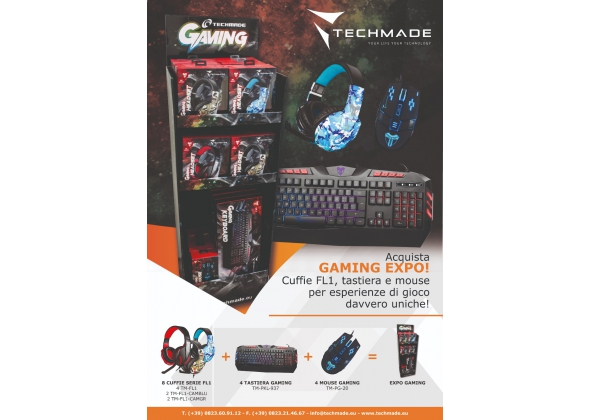 EXPO GAMING 8 CUFFIE ( 4PZ TM-FL1 +2 TM-FL1 CAMBLU+2 TM-FL1-CAMGR) +4 SET COMPACT TASTIERE GAMING+ MOUSE GAMING